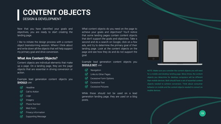 the landing page guide content objects